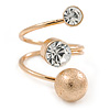 Clear Crystal, Textured Ball Spiral Ring In Gold Plated Metal - Size 8
