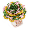 Yellow/ Pink/ Green Glass Bead Flower Stretch Ring - 35mm D