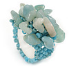 Dusty Light Blue Semiprecious Chip Cluster Flex Ring
