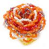 Orange/ White/ Lavender Glass Bead Flower Stretch Ring - 40mm D