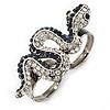 Clear/ Montana Blue Crystal Snake Double Finger Ring In Antique Sliver Metal - Size 7/8 (Adjustable)