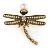 Large Vintage Inspired Crystal Dragonfly with Pearl Bead Ring In Antique Gold Tone Metal - 55mm - Size 8