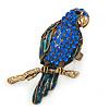 Large Sapphire Blue Crystal, Teal Enamel Parrot Bird Ring In Antique Gold Metal - 60mm L - 7/8 Size Adjustable