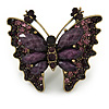 Large Crystal, Acrylic Bead Butterfly Ring In Antique Gold Tone Metal (Purple) - 55mm - Size 8