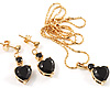 Gold-Tone Cubic Zirconia Heart Cosutme Jewellery Set