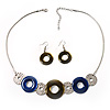 Bold Circle&amp;Disk Enamel Necklace&amp;Earring Set (Blue&amp;Olive)