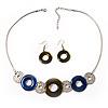 Bold Circle&Disk Enamel Necklace&Earring Set (Blue&Olive)
