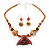 Fish Fin Glass Pendant & Earrings Set (Amber & Citrine)
