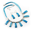 Sky Blue Enamel Nugget Cord Necklace And Drop Earrings Set