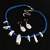 Silver Tone Nugget Silk Cord Necklace And Earrings Set