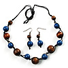Multicoloured Wooden Necklace And Earrings Set (Brown And Blue)