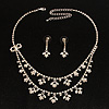 Bridal Clear Diamante Layered Floral Necklace &amp; Earrings Set In Silver Plating
