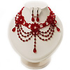 Hot Red Gothic Costume Choker Necklace And Earring Set