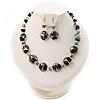 Black Glass & Semiprecious Bead Necklace & Earring Set