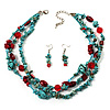 Multistrand Turquoise Necklace And Drop Earrings Set (Silver Tone)