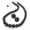 Jet Black Acrylic Bead Necklace And Stud Earring Set (Silver Tone)
