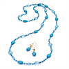 Light Blue Long Plastic Bead Necklace & Drop Earrings Set (Gold Tone) -124cm Length