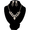 Bridal Diamante Floral Necklace & Earrings Set (Silver Tone)