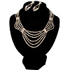Bridal Diamante Wavy Style Bib Necklace &amp; Drop Earrings Set (Silver Tone)