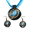 Teal Open-Cut Disk Enamel Organza Cord Necklace &amp; Drop Earrings Set (Bronze Tone)