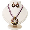 Violet Open-Cut Disk Enamel Organza Cord Necklace &amp; Drop Earrings Set