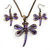 Purple Enamel Dragonfly Necklace & Drop Earrings Set (Bronze Tone)