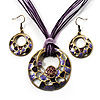 Purple Open-Cut Disk Enamel Organza Cord Necklace &amp; Drop Earrings Set (Bronze Tone)