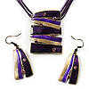 Purple Square Disk Enamel Organza Cord Necklace &amp; Drop Earrings Set (Bronze Tone)