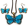 Light Blue Enamel Butterfly Necklace &amp; Drop Earrings Set (Bronze Tone)