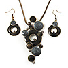 'Circles & Dots' Black & Grey Enamel Necklace & Drop Earrings Set (Bronze Tone)
