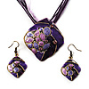 Purple Diamond-Cut Disk Enamel Organza Cord Necklace &amp; Drop Earrings Set (Bronze Tone)