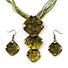 Olive Green Triple Square Enamel Organza Cord Necklace &amp; Drop Earrings Set (Bronze Tone)