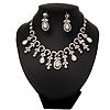 Vintage AB/Clear Crystal Droplet Necklace &amp; Earrings Set In Rhodium Plated Metal