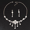 Bridal Swarovski AB/Clear Crystal Floral Necklace &amp; Earrings Set In Rhodium Plated Metal