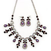 Vintage AB/Purple Crystal Droplet Necklace & Earrings Set In Rhodium Plated Metal