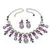Vintage AB/Purple/Lavender Crystal Droplet Necklace & Earrings Set In Rhodium Plated Metal