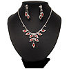 Bridal Red/Clear Diamante Floral Necklace &amp; Earrings Set In Silver Plating