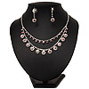 Bridal Pink/Clear Diamante Layered Floral Necklace & Earrings Set In Silver Plating