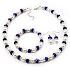 White & Royal Blue Imitation Pearl Bead With Diamante Ring Necklace, Bracelet & Earrings Set (Silver Tone Metal) - 44cm L/ 4cm Ext