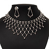 Bridal Clear Diamante Net Style Necklace & Earrings Set In Silver Plating
