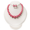 Dusty Pink Acrylic Bead Choker Necklace And Stud Earring Set (Silver Tone)