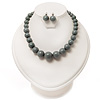 Grey Acrylic Bead Choker Necklace And Stud Earring Set (Silver Tone)