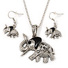 Silver Plated 'Elephant' Pendant Necklace & Drop Earrings Set - 38cm Length (3cm extender)