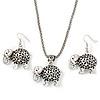 Silver Plated Filigree 'Elephant' Pendant Necklace & Drop Earrings Set - 40cm Length (6cm extender)