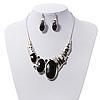 Black Enamel Geometric Necklace & Drop Earrings Set In Rhodium Plated Metal - 38cm Length (7cm extender)