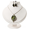 Forest Green Enamel 'Leaf' Pendant Necklace & Drop Earrings Set In Rhodium Plated Metal - 36cm Length (6cm extender)