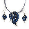 Royal Blue Enamel Diamante 'Leaf' Necklace & Drop Earrings Set In Rhodium Plated Metal - 34cm Length (7cm extension)