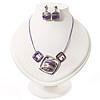 Purple Enamel Diamante Geometric Necklace & Drop Earrings Set In Rhodium Plated Metal - 34cm Length (6cm extender)