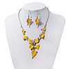 Yellow Enamel Diamante Floral Necklace & Drop Leaf Earrings Set In Rhodium Plated Metal - 36cm Length (4cm extender)