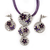 'Triple Circle' Floral Pendant Necklace On Cotton Cord & Drop Earrings Set - 36cm Length (6cm extender)